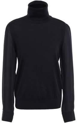 Tory Burch Silk Georgette-paneled Merino Wool Turtleneck Sweater