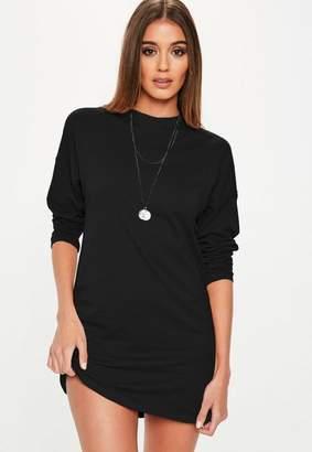 Missguided Black Long Sleeve T Shirt Dress