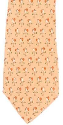 Salvatore Ferragamo Rooster Direction Print Silk Tie