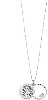 """Express Timeless Sterling Silver """"I Love You More Than Words Can Pendant Necklace"""