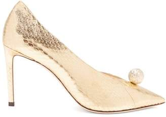 Jimmy Choo Sadira 85 Snakeskin Effect Pumps - Womens - Gold