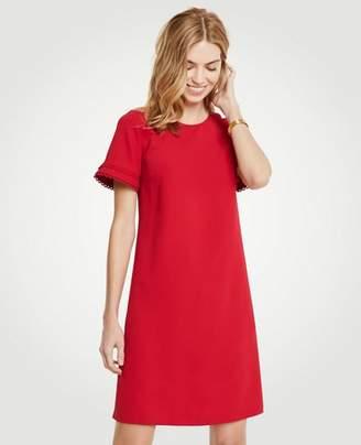 Ann Taylor Scallop Trim Flare Sleeve Shift Dress