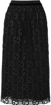 Gucci Velvet And Grosgrain-trimmed Macramé Lace Midi Skirt - Black