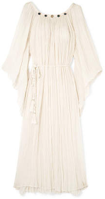 Miguelina Nevaeh Crystal-embellished Cotton-gauze Maxi Dress - Sand