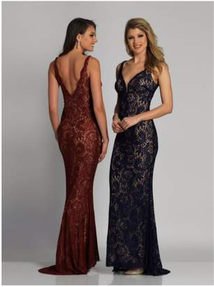 Dave and Johnny Plunging Lace Gown