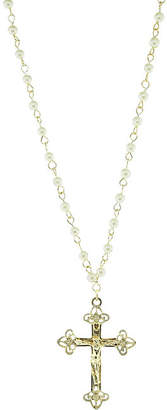 1928 Jewelry 1928 Religious Jewelry Womens White Simulated Pearl Brass Cross Pendant Necklace