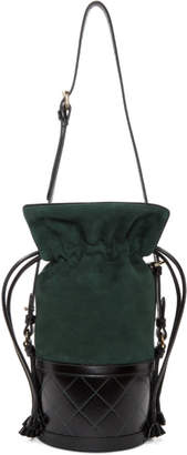 Carven Green and Black Small Sully Bucket Bag