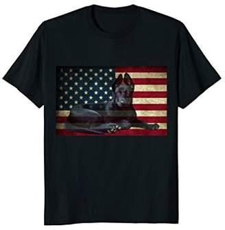Cool German Shepherd T-shirt with Flag