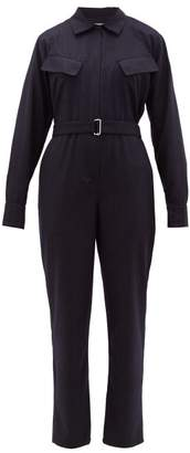 Officine Generale Serine Belted Pinstriped Wool Jumpsuit - Womens - Navy