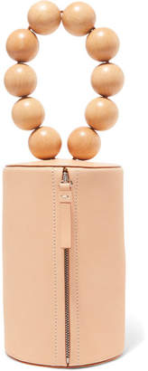 Cylinder Wood And Leather Clutch - Beige