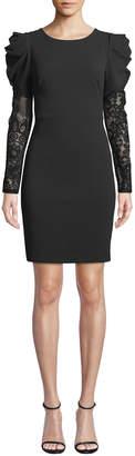 Betsey Johnson Puff-Shoulder Lace-Sleeve Dress