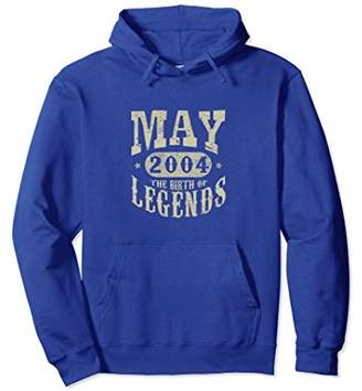 14 Years 14th Birthday May 2004 Birth of Legend Hoodies