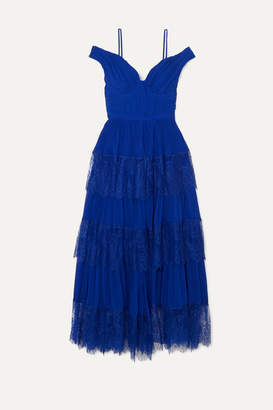 Self-Portrait Cold-shoulder Tiered Lace-trimmed Pleated Chiffon Maxi Dress - Bright blue