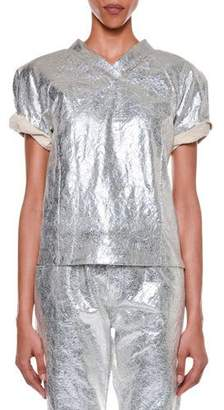 Tom Ford Roll-Sleeve Metallic-Coated T-Shirt
