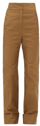 Lemaire Turn Up Cuff Cotton Twill Trousers - Womens - Khaki