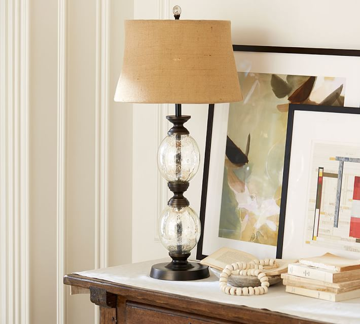 Pottery Barn Stacked Mercury Glass Table Lamp Base