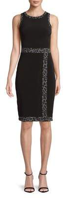 MICHAEL Michael Kors Leopard Trim Sheath Dress