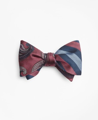 Brooks Brothers Alternating Ground Stripe with Paisley Reversible Bow Tie