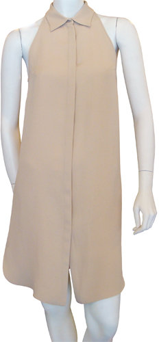Cacharel Sleeveless Collared Silk Dress In Nude