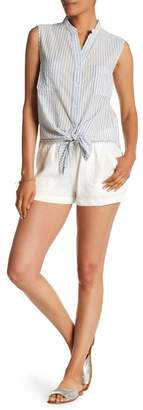 Max Studio High Rise Drawstring Linen Shorts