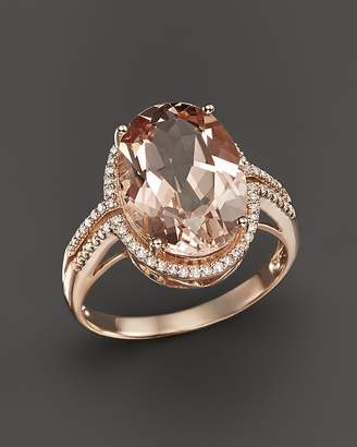 Bloomingdale's Morganite and Diamond Oval Statement Ring in 14K Rose Gold - 100% Exclusive