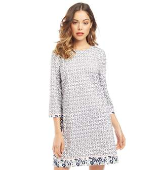c4b68ce733e578 Ted Baker Colour by Number Womens Lealla Geo Floral Print Shift Dress  Mid-Grey