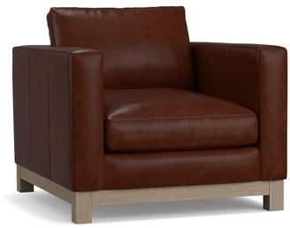 Pottery Barn Jake Leather Wood Base Armchair