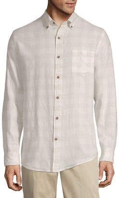 ST. JOHN'S BAY Mens Long Sleeve Plaid Button-Front Shirt