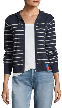 Kule The Drake Zip-Front Striped Cashmere Sweater Jacket