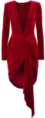 Alexandre Vauthier Draped Stretch-velvet Mini Dress - Red