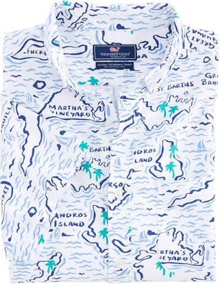 Vineyard Vines Short-Sleeve Map Of The Islands Classic Murray Shirt