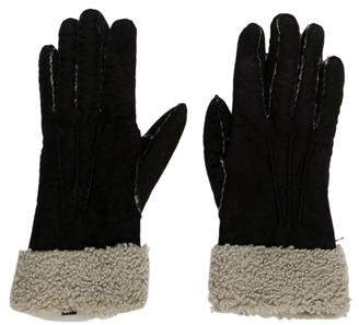 Ralph Lauren Suede Shearling-Trimmed Gloves