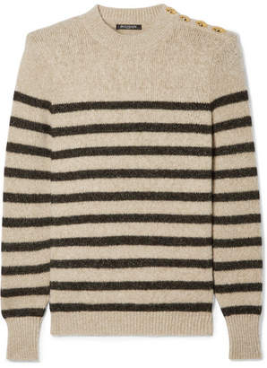 Balmain Button-embellished Metallic Striped Knitted Sweater - Beige