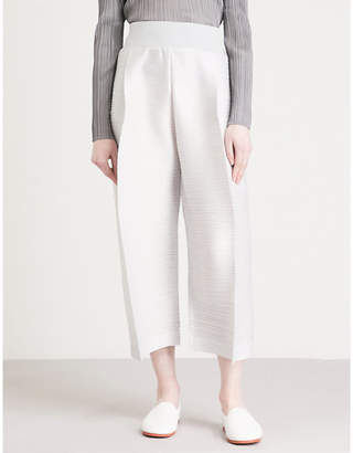 Pleats Please Issey Miyake Edgy Bounce straight cropped pleated trousers