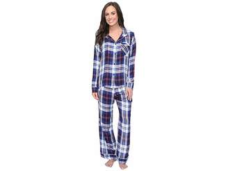 Plush Ultra Soft Long Sleeve Woven Plaid PJ Set