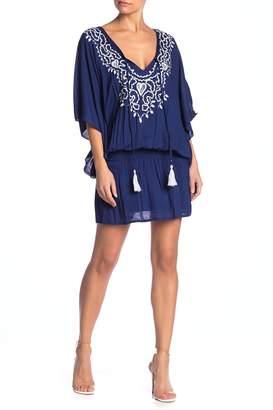 Tiare Hawaii Margarita Draped Sleeve Embroidered Dress