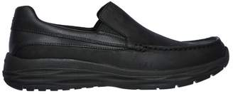 Skechers Mens Leather Moc Toe Slip-On Black UK 8 - EU 42