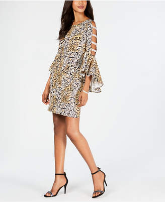 MSK Animal-Print Bell-Sleeve Shift Dress