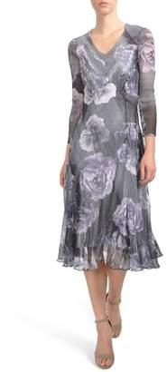 Komarov Print Chiffon A-Line Midi Dress