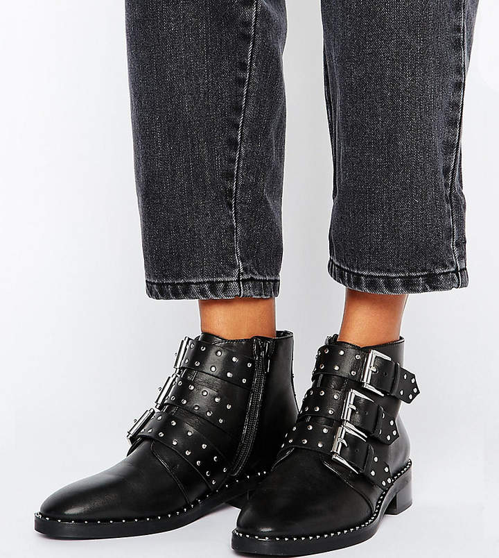 Asos Design ASOS ASHER Leather Studded Ankle Boots