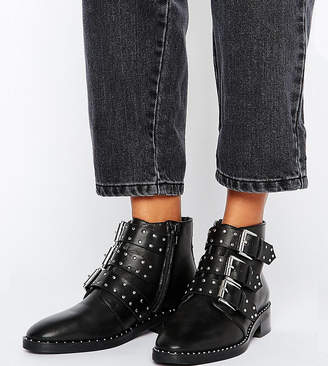 Asos DESIGN ASHER Leather Studded Ankle Boots
