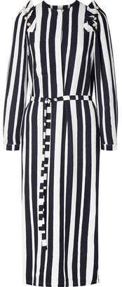 Mother of Pearl Jada Faux Pearl-embellished Striped Crepe De Chine Midi Dress
