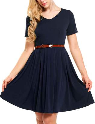 Meaneor Women's Ladies Belted Dress Fit-and-Flare Dress Casual Midi Dress(,S)