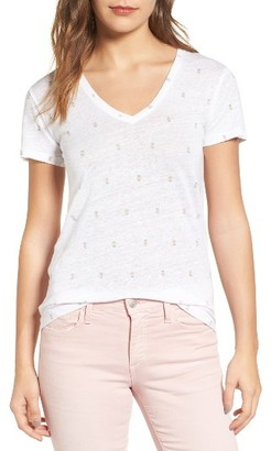 Women's Rails Cara Print Linen Blend Tee $78 thestylecure.com
