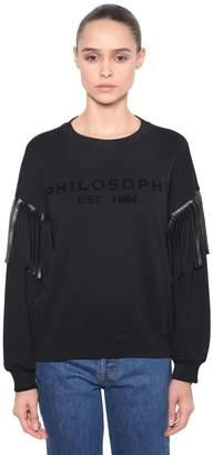 Philosophy di Lorenzo Serafini Logo Sweatshirt W/ Faux Leather Fringe