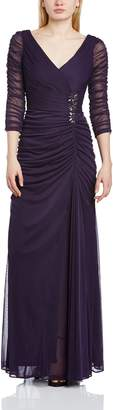Adrianna Papell Women's 3/4 Sleeve Evening Gown with V-Neckline and Rouched Bodice
