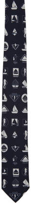 Prada Navy and White Boat Tie
