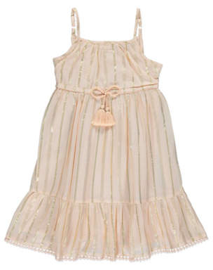 George Peach Metallic Stripe Dress