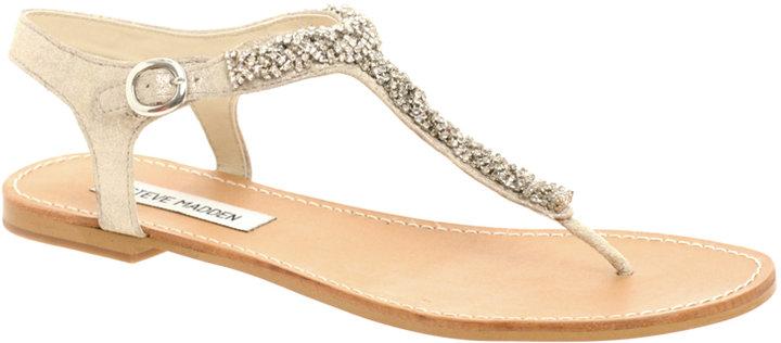 Steve Madden Bride Diamante T-Bar Strap Flat Sandal