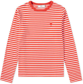 Ami Long Sleeve Heart Stripe Tee